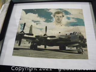 Framed Bomber Plane Memorabilia