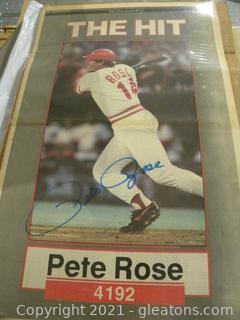Signed Pete Rose Newspaper