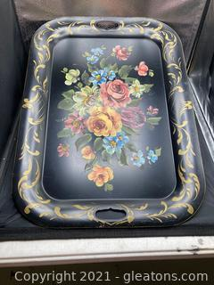 Large Handpainted Tole Tray