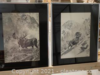 Signed Bill Oneill Pair Moose and Ram