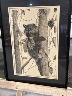 Lee Evans Print Raccoon Pen and Ink