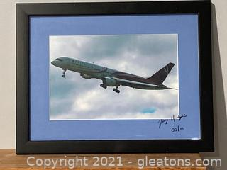 Framed Print of a Delta Aircraft Signed and Dated by Jay Updyke
