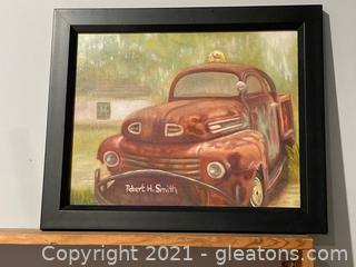 Framed Acrylic of Old Rusty Truck in Griffin GA