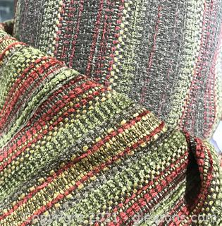 Colorful Roll of Striped Upholstery Fabric