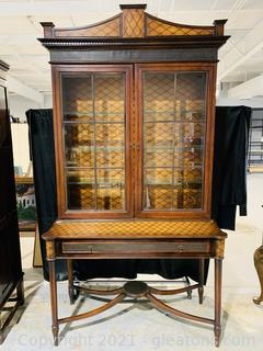 Maitland Smith China Hutch with Tooled Metal Details