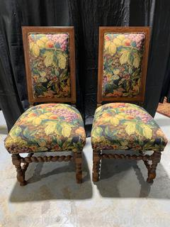 Pair of Magnificent Sam Moore Wood Carved Tapestry Dining Chairs