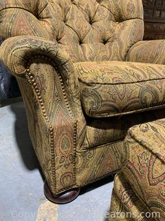 Attractive Sherrill Furniture Tufted Armchair and Ottoman