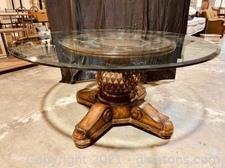 Luxurious Glass Top Pedestal Table