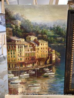 Lovely Signed Boat City Canvas
