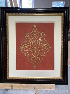 Framed Embroidered Silk Fabric Asian Design