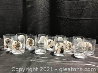 Norman Rockwell High Ball Glasses