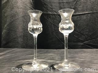 Signed Kosta Warff Crystal Candle Holders