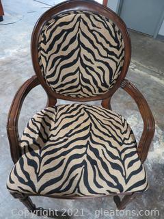 Louis XVI Style Zebra Print Armchair A