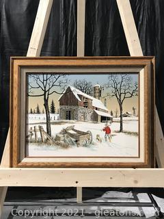 H. Hargrove Farm Winter Snow Landscape W/Duck Hunter & Dog