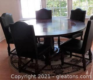 Expandable Round Pedestal Table with Perimeter Leaves That Seats 10 (Chairs Sold Separately)