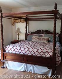 Gorgeous King Size 4 Poster Canopy Bed (Includes Mattress and Box Springs)