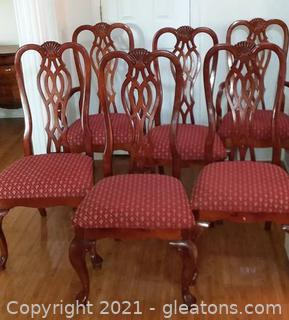 6 Queen Anne Style Dining Room Chairs with Shell Carving and Fleur De Lis Upholstery