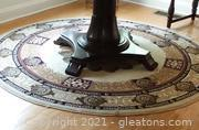 Nice Black Tan and Beige Round Royal Accent Rug