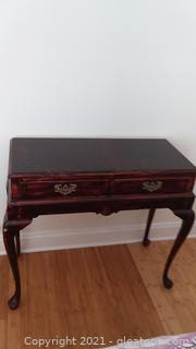 Unique Distressed Wooden Vanity with Queen Anne Legs