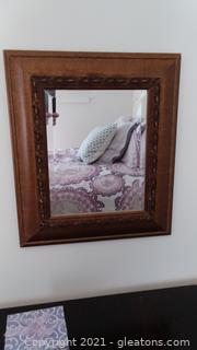 Copper Tone Framed Beveled Wall Mirror