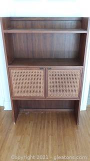 Mid Century Double Cane Door Book Shelf/Storage Cabinet