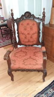 Nicely Upholstered 1900's Gothic Revival Arm Chair