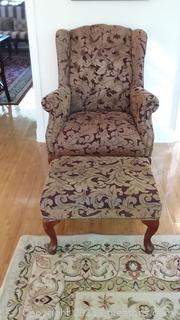 Queen Anne Style Wing Back Chair with Ottoman