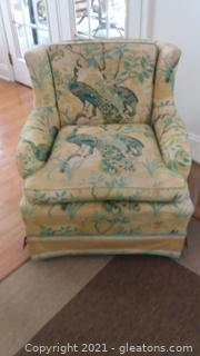 Pretty Peacock Print Upholstered Armed Chair