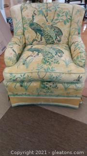 Pretty Peacock Print Upholstered Arm Chair