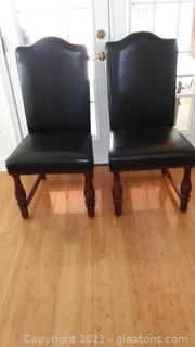 Pair of Black Parsons Style Upholstered Dining Room Side Chairs