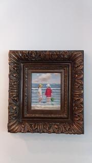 Beautifully Framed Original Painting on Canvas of 2 Girls Crabbing on Seashore