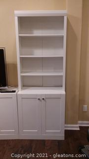 White Storage Cabinet with Detachable Bookcase