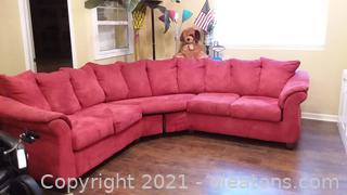 2 Piece Dark Dusty Rose Sectional Sofa