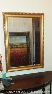 Beautiful Gold Framed Beveled Mirror