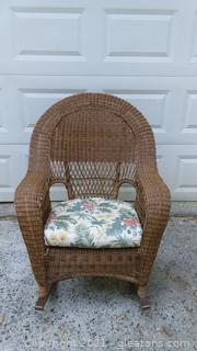 Honey Brown Resin Wicker Outdoor Rocker with Cushion