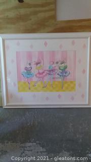Framed Water Color Print by BJ Gerter of Ballerina Bunnies