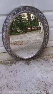 Elegant Oval Antiqued Gray Wall Mirror