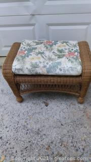 Honey Brown Resin Wicker Outdoor Ottoman with Cushion