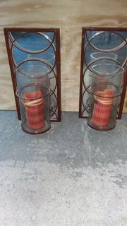 2 Mirrored Metal Candle Holders for Wall Decor