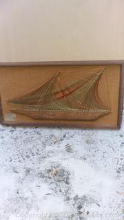 "Mid Century Wire String Art ""The Schooner"" Signed"