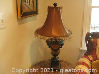 Heavy Brass Table Lamp with Brown Beaded Shade