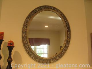 Elegant Oval Antiqued Gray Framed Wall Mirror