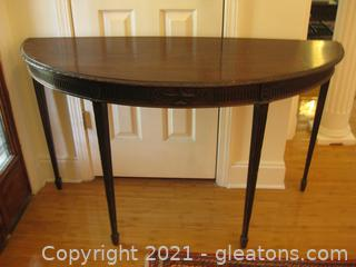 Antique Handcrafted Wooden Half Moon Foyer Table
