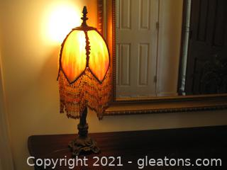 Vintage Brass Table Lamp with Beaded Stained Glass Shade – Some Repair Needed