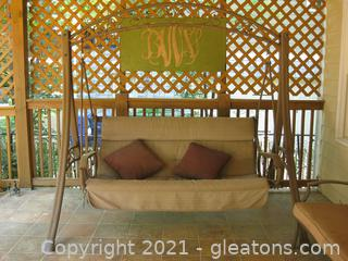 Metal Porch Swing with Trellis Stand and Cushion