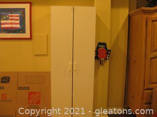 2-Door White Storage Cabinet W/4 Shelves