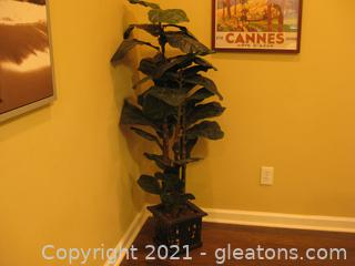 Fiddle-Leaf Ficus Tree (Silk) in a Distressed Wooden Pot