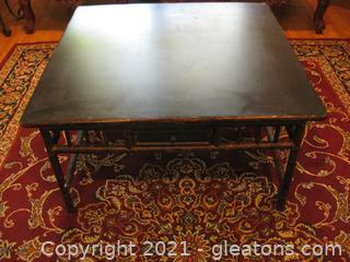 Low Square Wooden Coffee Table with a Drawer On Each Side
