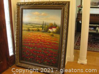 Very Large Oil Paint Enhanced Giclee Print in Ornate Looking Antique Gold Frame