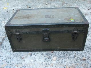 Vintage Military Footlocker Olive Colored Wood with Metal Frame Circa 1948-1955